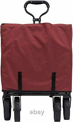 Mac Sports Collapsible Folding Outdoor Garden Utility Wagon with Table, Maroon