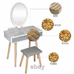 Makeup Dressing Table Vanity Set LED Light Mirror Stool Set Wood Desk Drawer UK