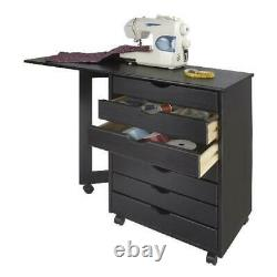 Medium Pine Black Finish Gate Leg Sewing Table With 7-Drawer Home Office Desk