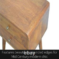 Mid Century Curved Dark Brown Bedside Table Cabinet Solid Wood Art Deco NEW