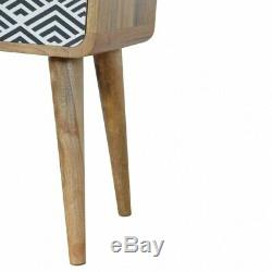 Mid Century Deco Style Bedside Cabinet / Side Table With Screen Printed Drawer
