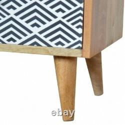Mid Century Deco Style Rounded Bedside Cabinet Side Table Screen Printed Drawer