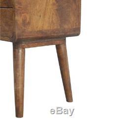 Mid Century Modern Dark Wood Bedside Table Cabinet / Side Table