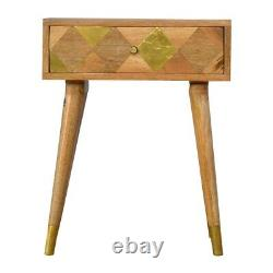 Mid Century Modern Scandi Style Single Drawer Bedside Table With Gold Diamond