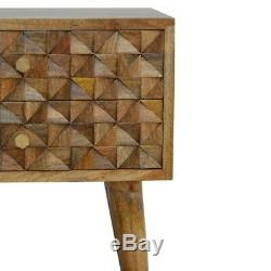 Mid Century Modern Scandinavian Style Bedside Table Hand Carved Solid Wood