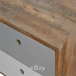 Mid Century Modern Style Dark Solid Wood Two Drawer Painted Grey Bedside Table