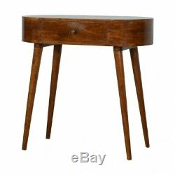 Mid Century Rounded Console Table / Dressing Table Solid Wood Dark Finish