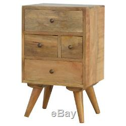Mid Century Scandinavian Style Rustic Four Drawer Bedside Table Brass Handles