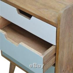 Mid Century Scandinavian Style Three Drawer Hand Painted Green Bedside Table