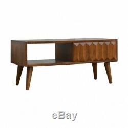 Mid Century Style Dark Wood Coffee Table With Hand Carved Drawer Front
