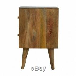 Mid Century Style Hand Carved Cube Design Bedside / Side Table Solid Wood RUSTIC