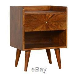 Mid Century Sunburst Inlay Bedside Table Chestnut Wood Tone