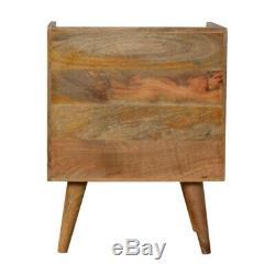 Mid Century Sunburst Inlay Bedside Table Natural Wood Tone