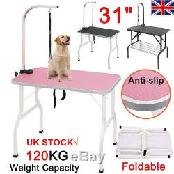 NEW 31/80cm Arm Adjustable Non-Slip Foldable Portable Pet Dog Grooming Table