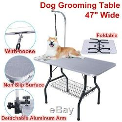 NEW 47W Foldable Adjustable Arm Pet Dog Bath Grooming Table Non-Slip Trimming