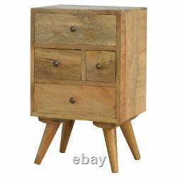 Nordic Scandinavian Style Rustic Handmade 4 Drawers Bedside Table Brass Handles