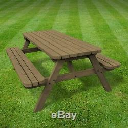 Oakham Rounded Wooden Outdoor Sturdy Pub Style Picnic Bench Table Heavy Duty