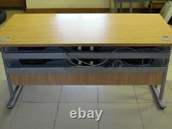 Office desk table oak heavy duty with cable management and sockets
