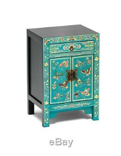 Oriental Teal Blue With Gold Leaf Bedside Cabinet Side Table