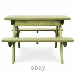 Outdoor Picnic Table Bench Furniture Wood Garden Impregnated Pinewood Heavy Duty
