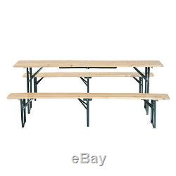 Outsunny Garden Folding Heavy Duty Wooden Picnic Table Bench Set Camping Table