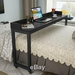 Over bed Table with Wheels Tribesigns 70.8 Queen Size Mobile Desk Heavy Duty