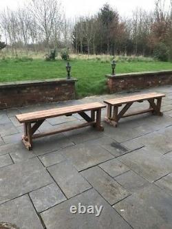 Pair Of 4ft Long Garden Bench Seats! Garden Furniture Heavy Duty Extra Wide Seat
