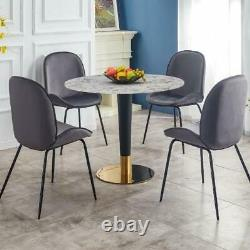 Pantheon Marble Round Dining Table with Gold Black Legs Heavy Duty 60/80/100cm