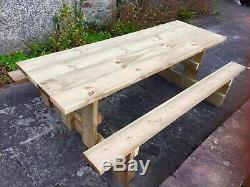 Picnic Garden Bench A Walk In 8ft Picnic Table Thick Timber & Heavy Duty Sits 10