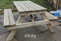 Picnic/Pub Bench Treated Wood Handmade Rustic Garden Seating Heavy Duty Table