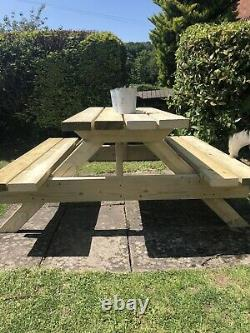 Pub Garden 5 Ft Picnic Table Bench Heavy Duty 6 Seater New Tanalised Timber