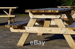 Pub style heavy duty wooden picnic benches (set of 5 tables)