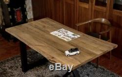 Reclaimed Industrial live edge heavy duty oak table top 2m X 1m thickness 40mm