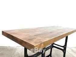 Reclaimed Wood Industrial Mid Century Heavy Duty Table Bench Desk Vintage