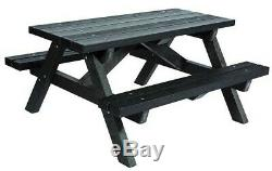 Recycled Plastic ADULT PICNIC TABLE Heavy Duty Fully Built Brand New in BLACK