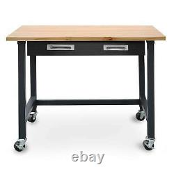 Rolling Garage Work Bench Tool Table Cart with Drawers Heavy Duty Steel & Wood
