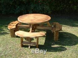 Round Pub Picnic Bench 8 seat garden Furniture Heavy Duty Round Table 38mm thick