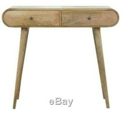 Rounded Console Table Desk With Two Drawers Scandinavian Style Mid Century