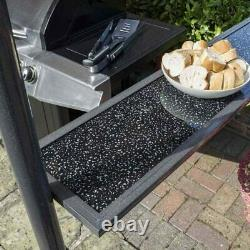 Rowlinson Roma BBQ Gazebo, Granite Glass Bar Tables, Taupe H250 x W250 x D152cm