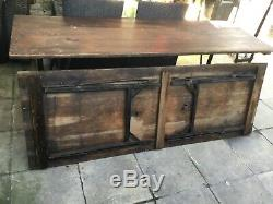 Rustic Folding Trestle Wooden TablesVintage Dining Picnic Ex Army Heavy Duty VGC