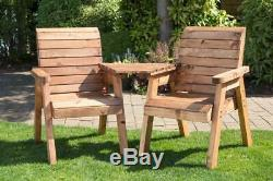 Rustic Style Heavy Duty Wooden Garden Love Seat with Central Table
