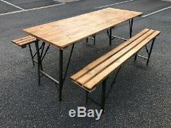 Rustic Wooden Folding Trestle Table & Bench Set HEAVY DUTY Dining Picnic Seat
