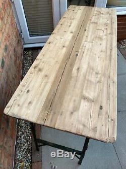 Rustic Wooden Folding Trestle Table Ex Army Garden BBQ Patio Dining Heavy Duty