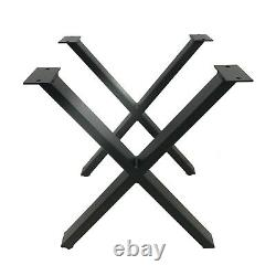SET of 2 Modern Industrial X Table Legs, Self Leveling, Heavy Duty