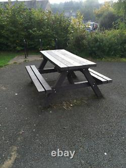 SHIRES Heavy Duty SOLID Recycled Plastic A FRAME PICNIC TABLE BLACK
