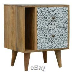 Scandinavian Boho Style Black & White Printed Front Bedside Cabinet Side Table