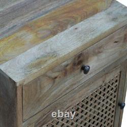 Scandinavian Rustic Boho Bedside / Side Table With Rattan Door Customer Return