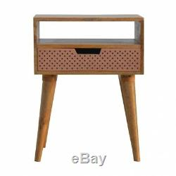 Scandinavian Style Bedside Table With Perforated Copper Drawer