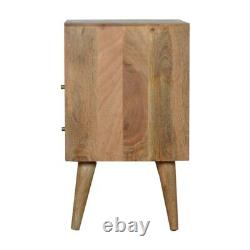 Scandinavian Style Honeycomb Carved Two Drawer Nightstand Bedside Side Table