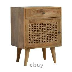 Scandinavian Style Rustic Boho Bedside Table / Side Table With Rattan Door Front